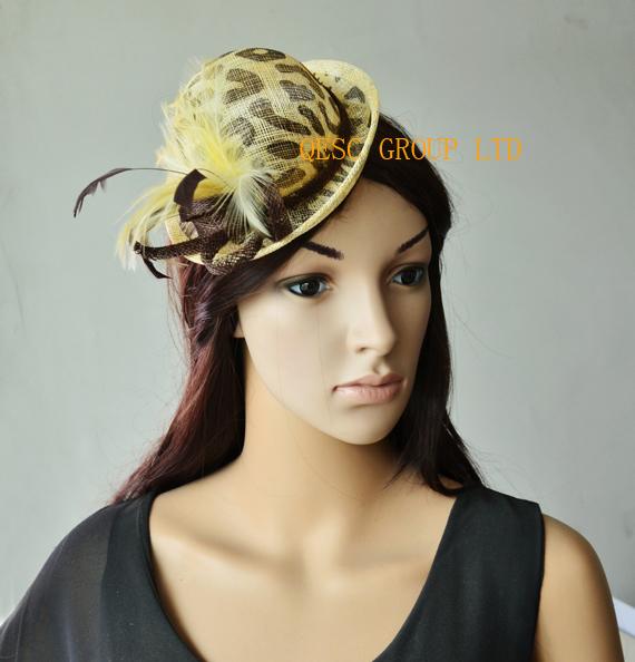 Leopard print beige/brown Sinamay Fascinator Mini Hat wedding hat.(China (Mainland))