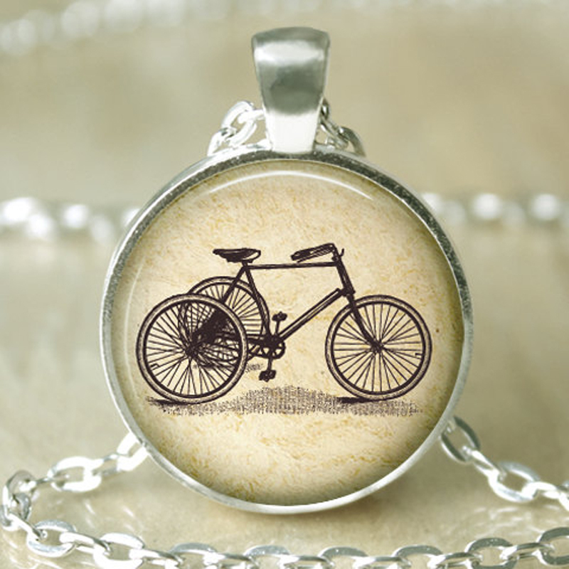 Handmade Necklace,Vintage Bicycle Bike Photo Picture Colar,Glass Dome Art Pendant Necklace,Fashion Necklaces for Women 2014(China (Mainland))