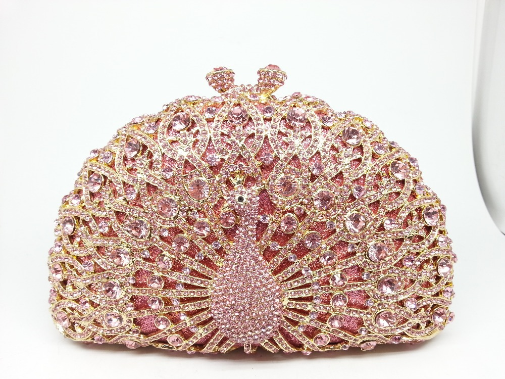 13Color Metal Minaudiere Pink Crystal Peacock Clutches Handbags Ladies Evening Party Clutch Rhinestone Wedding Bridal Bags Purse(China (Mainland))