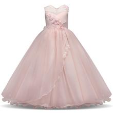 קיץ ילדה שמלת תחרה ארוך טול Teen הילדה המפלגה שמלה אלגנטי ילדי בגדי ילדים שמלות בנות נסיכת שמלת כלה(China)