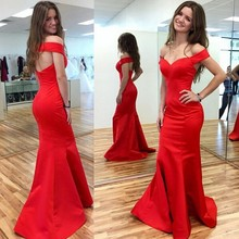 Buy Sexy Satin Sleeveless Mermaid Evening Dress 2017 New V-Neck Long Prom Dresses Sweep Train Cap Sleeve Evening Party Dresses W4 for $139.00 in AliExpress store