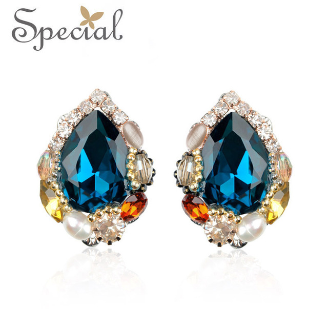 Special New Fashion Luxury Blue Stud Earrings Handmade Crystal Big Earrings For Women Gifts For Girls Free Shipping ED141124