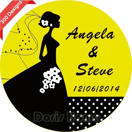 Personalized WEDDING Bubble Label Favors, Wedding Sticker / Wrapper Favors 3cm,W80(China (Mainland))