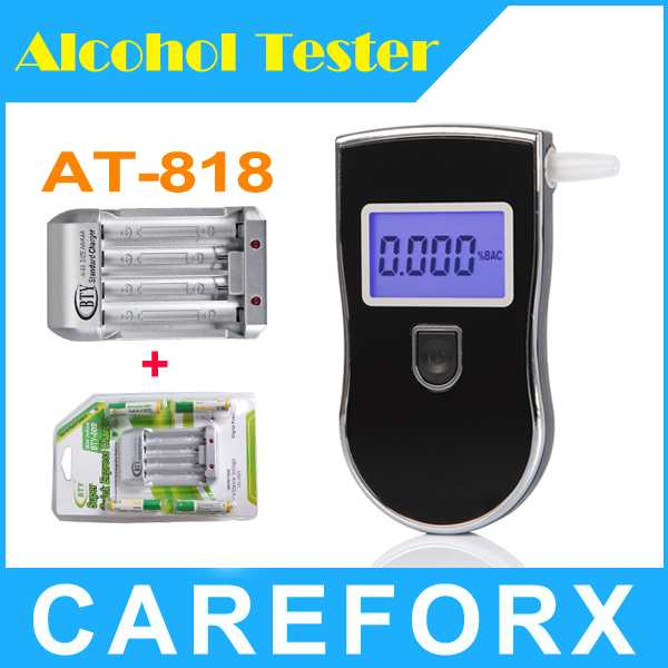 Wholesale Patent Police Digital Breath Alcohol Tester with 5pcs Mouthpieces 4 BTY 1350mah AAA BAttery Charger Free shipping(China (Mainland))