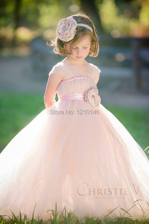 Cheap cute tulle sashes ball gown pink wedding little for Little flower girl wedding dresses