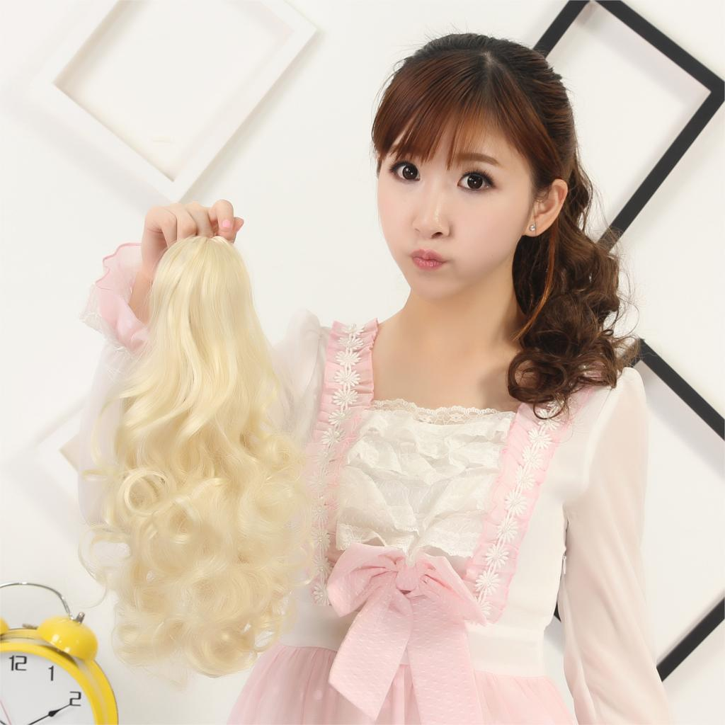 long wavy hair claw ponytail, hairpieces claw ponytails, synthetic hair weave<br><br>Aliexpress