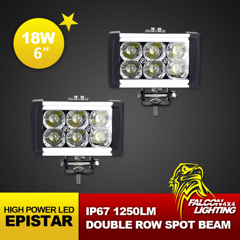 "Hot Sale 2PCS 18W 6"" Inch Epistar LED Light Bar Offroad Working Light Truck Tractor 4X4 LED Driving Light Bar LED Spot Light(China (Mainland))"
