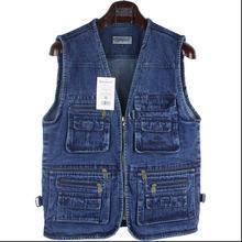 7 Colors Middle-Aged Men Denim Vest Spring And Autumn Casual Denim Waistcoat Men Wholesale Plus Size Denim Vest Jacket 5Xl C321
