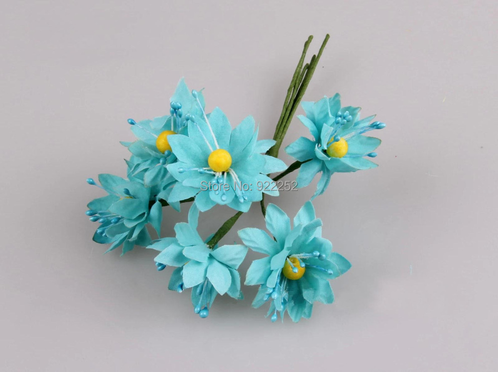 3 5cm artificial small fabric flower with yellow stamens for Small flowers for crafts