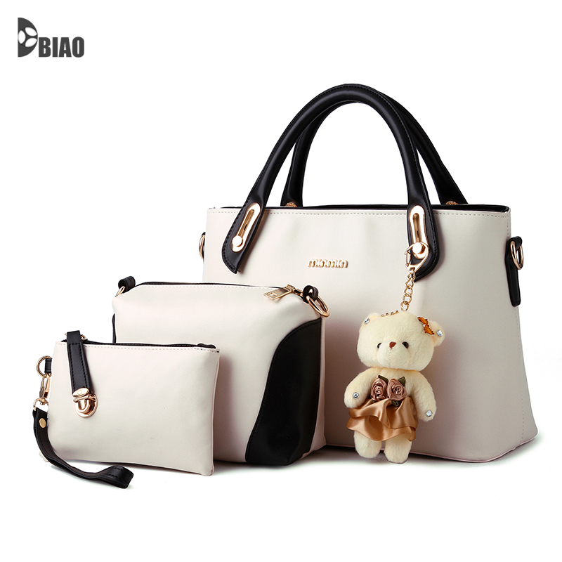 HOT SELLING European American fashion casual alligator pattern handbag patent leather PU shoulder bag with purse bear toy(China (Mainland))