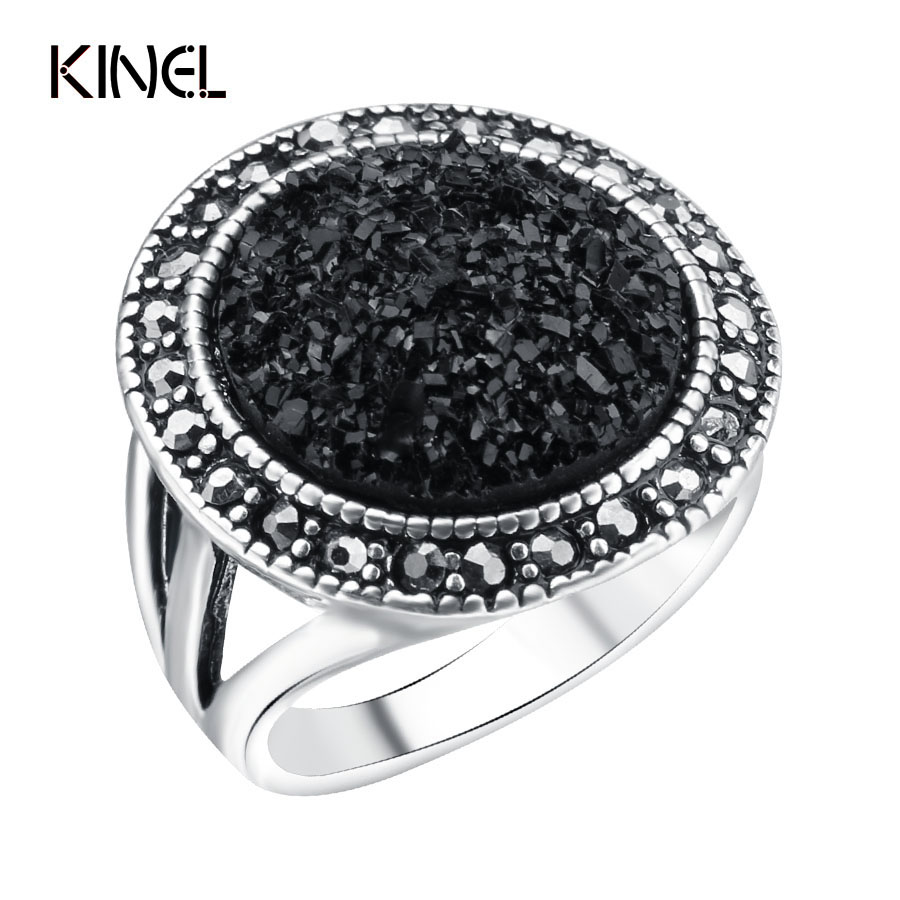 Hot 2015 Fashion Black Broken Stone Accessories Rings Women Bohemia Silver Plated Jewelry Live Ride Engagement RingRing - kinel Retro store