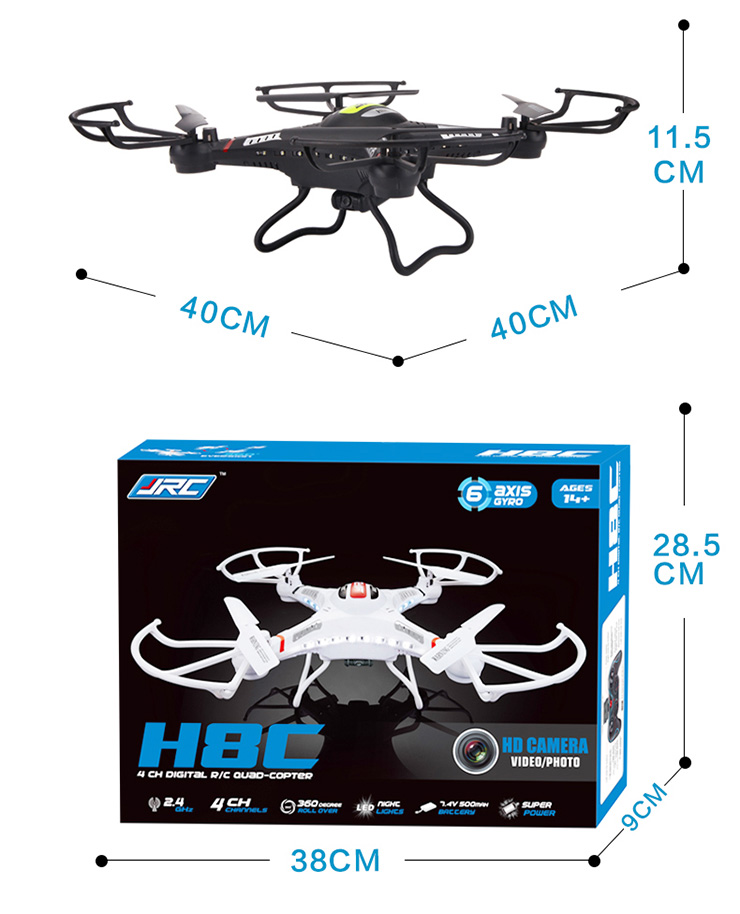 JJRC H8C 4CH 6 Axis RC Quadcopter With 2MP Camera RTF 2.4GHz VS X5C