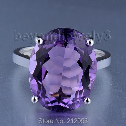 Здесь можно купить  Vintage Oval 13x16mm Solid 18Kt White Gold Natural Purple  Amethyst Engagement Ring WU216  Ювелирные изделия и часы