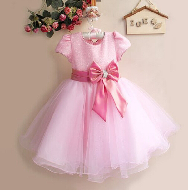 LB 2015 summer style Children Girl Dress Infant Dress With Bow Girl Formal Party Dress kids Clothing 0-2 years(China (Mainland))