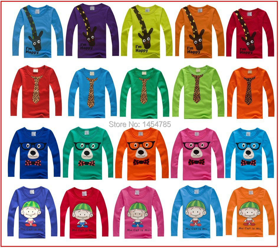 New 2015 t-shirts,100% cotton long sleeve children t shirts,cute animal cartoon t-shirt,candy color bottoming t shirt, nova kids(China (Mainland))