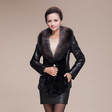 2016 Autumn and Winter Women's Genuine Sheepskin Leather Coat with Fox Fur Collar and Mink Fur Hem VK77540(China (Mainland))