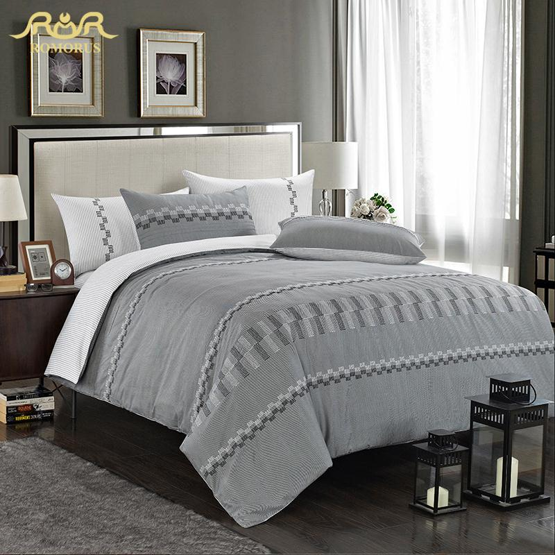 Buy romorus brief grey cotton satin hotel bed set luxury qui - Parure de couette ikea ...