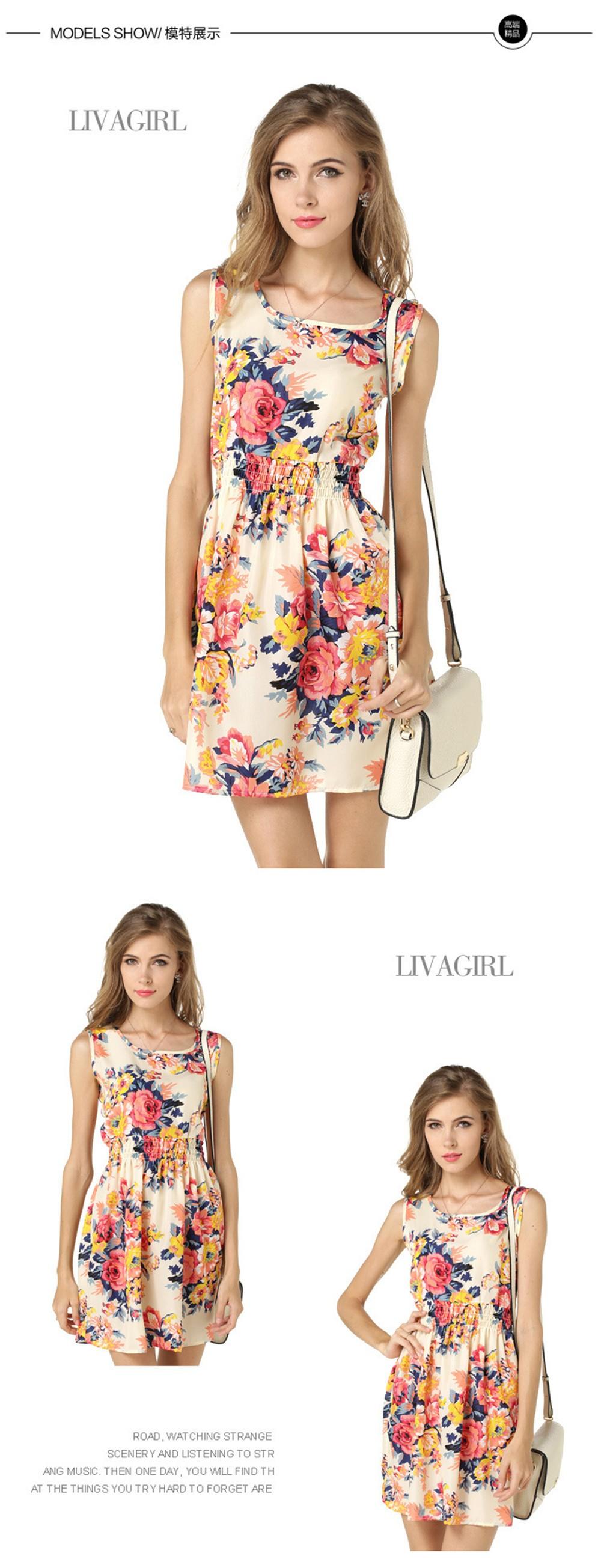 Fashion Tunic Women Dress 2016 Plus Size XXL O-neck WOMEN DRESS Summer Style Floral Print Casual Dresses Women Vestidos Woman (60)