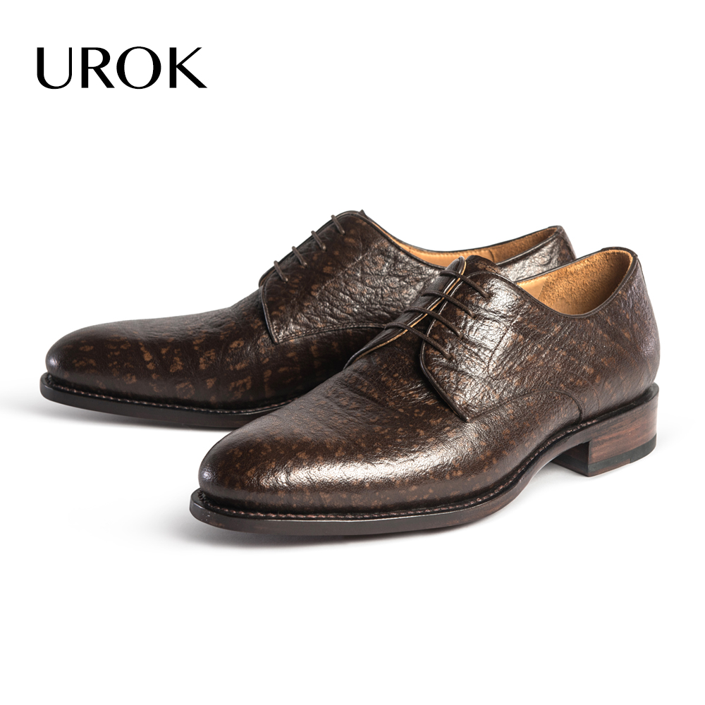 UROK Sheep Skin Derby Men Shoes Goodyear Lace-up Plain Round Toe Office Flats Luxury Sapatos Low Heel Business Men Casual Shoes(China (Mainland))