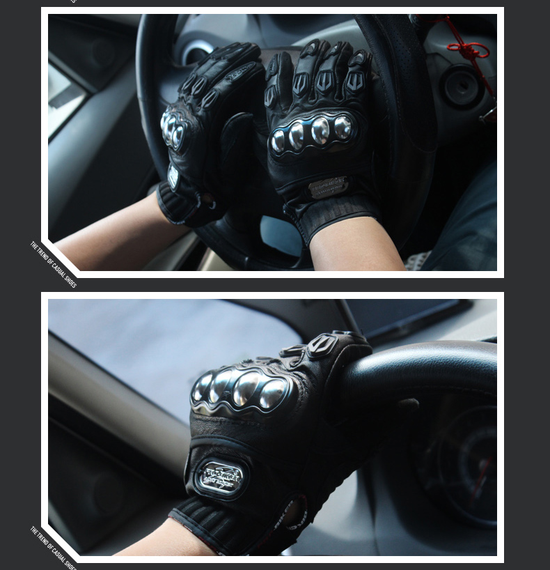 New Genuine Leather Waterproof Motorcycle Gloves Motocross Racing Gloves Motorbike Driving Gloves Protective Cycling Gloves M-XL