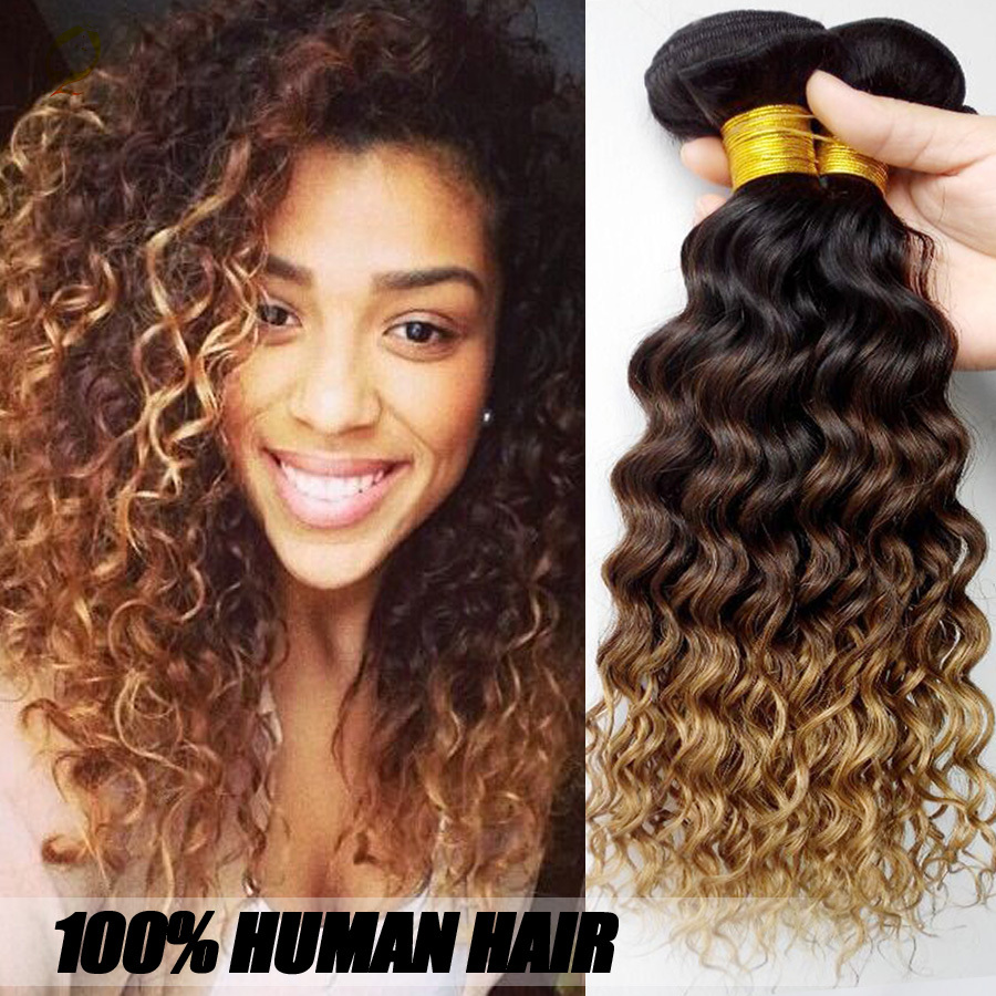 6a Unprocessed Virgin Brazilian Hair,Brazilian Deep Curly Virgin Hair Ombre Weave 3 Bundles Ombre Hair Extensions Water Wave(China (Mainland))
