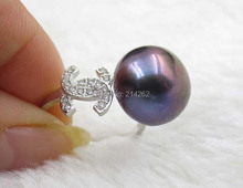 free shipping 13mm black genuine freshwater pearl rings stretch 925silver H59#(China (Mainland))