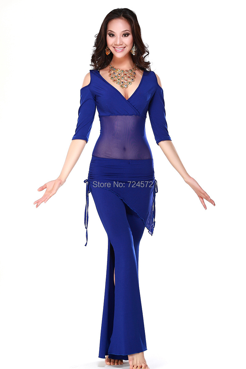 Belly dance costume sets sexy milk silk top+waist pants 2pcs/suit for women belly dance sets 6kinds of colors(China (Mainland))