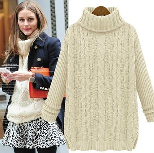 Free shipping Winter 2014 new fashion women retro knit pullover long-sleeved high-necked round super warm wool knitted sweaters(China (Mainland))