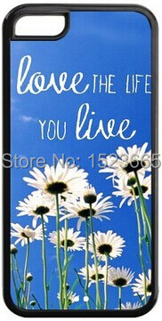 New Hot Selling The Pink Hipster Love the Life You Live Quote Wildflower Field TPU Case for Iphone 4G/4S,5G/5S,5C,6G/6Plus(China (Mainland))