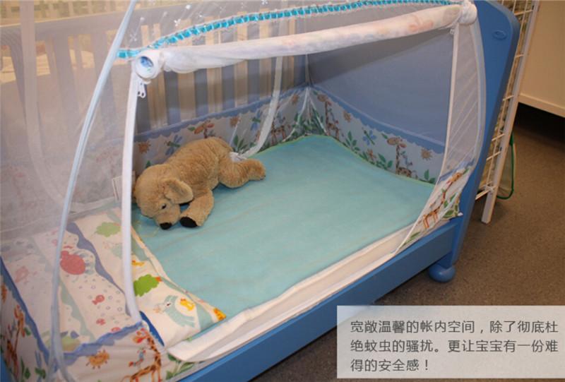 Германии стиле детская кроватка противомоскитные сетки ребенок ребенок кровать-освещения, Мультфильм жираф шаблон малыш голубой москитная сетка сафти палатка две двери
