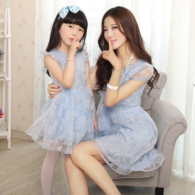 Новые соответствуя мать дочь одежда семьей смотрим летние платья мама и дочь родител-ребенка наряд милой девушки платье
