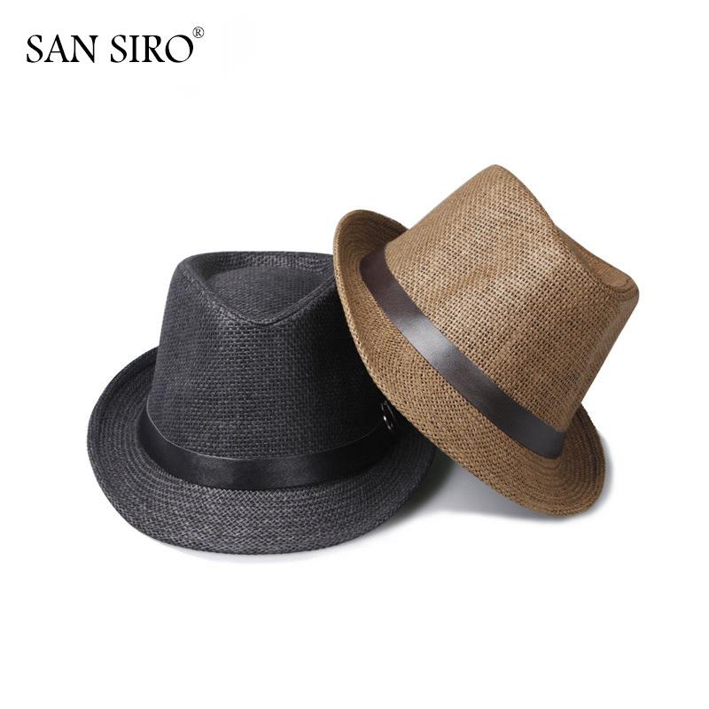 San Siro New 2016 Fashion Men Women Unisex Plaid Striped Fedora 57cm One Size Summer Casual Adult Beach Cap Panama Sun Straw Hat(China (Mainland))