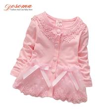 2017 New born весна baby girl dress хлопок 0-24 месяцев мода Корейские девушки конфеты цвета кардиган цветок lace dress for girls(China (Mainland))