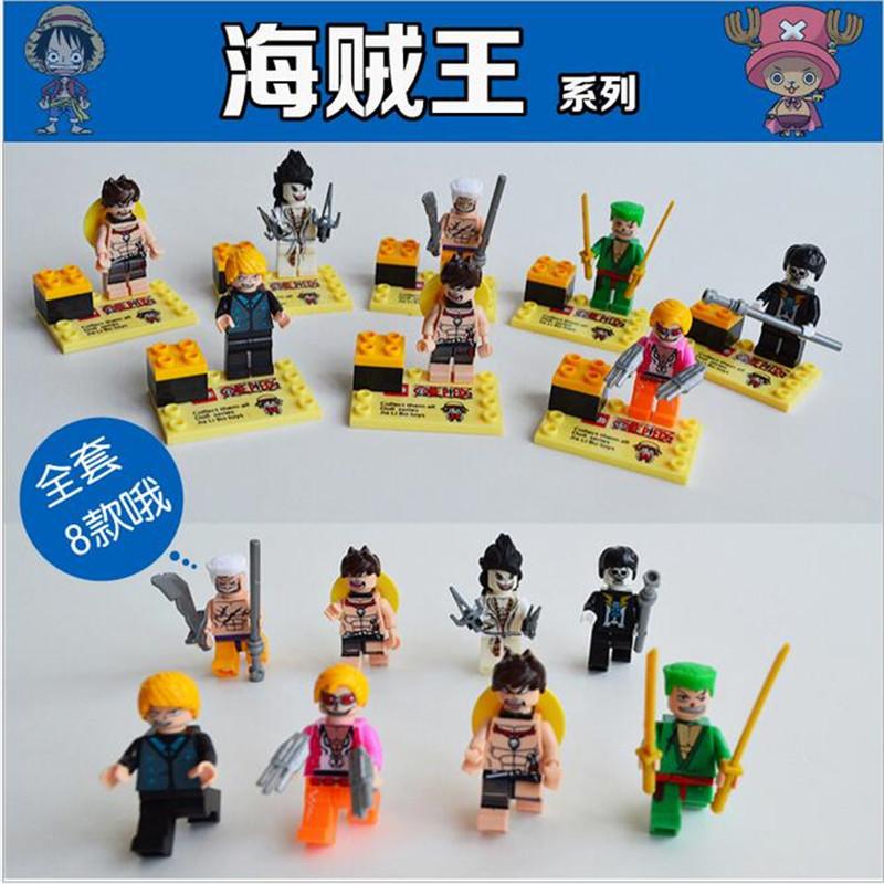 2016 8pcs/lot ONE PIECE Minifigure Building Blocks Luffy Zoro Nami Sanji Chopper Franky Kids Educational Bricks Legoe Compatible<br><br>Aliexpress
