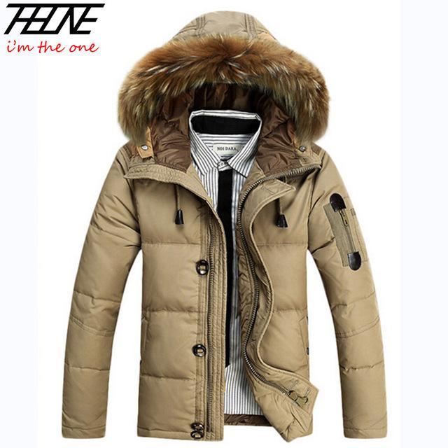 Пуховик капюшон, зима мужчины 90% белый пух пальто парка съёмный мех свободного покроя ...