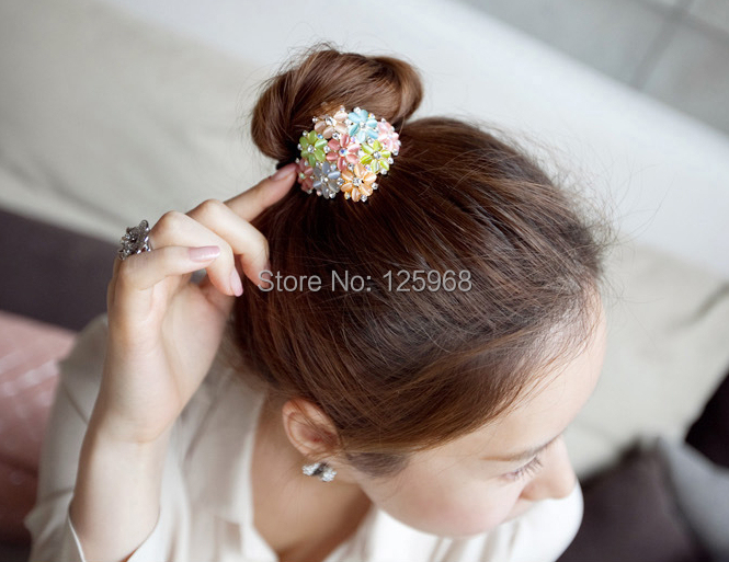 Free shipping!2014 New arrival fashion girl women pompom ponytail flower hair band crystal flower hair holder elastic ropes(China (Mainland))