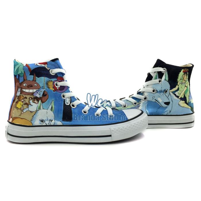 Hand Painted Shoes Princess Mononoke Totoro Blue High Top Canvas Anime Shoes Japanese Animated Custom Sneakers(China (Mainland))