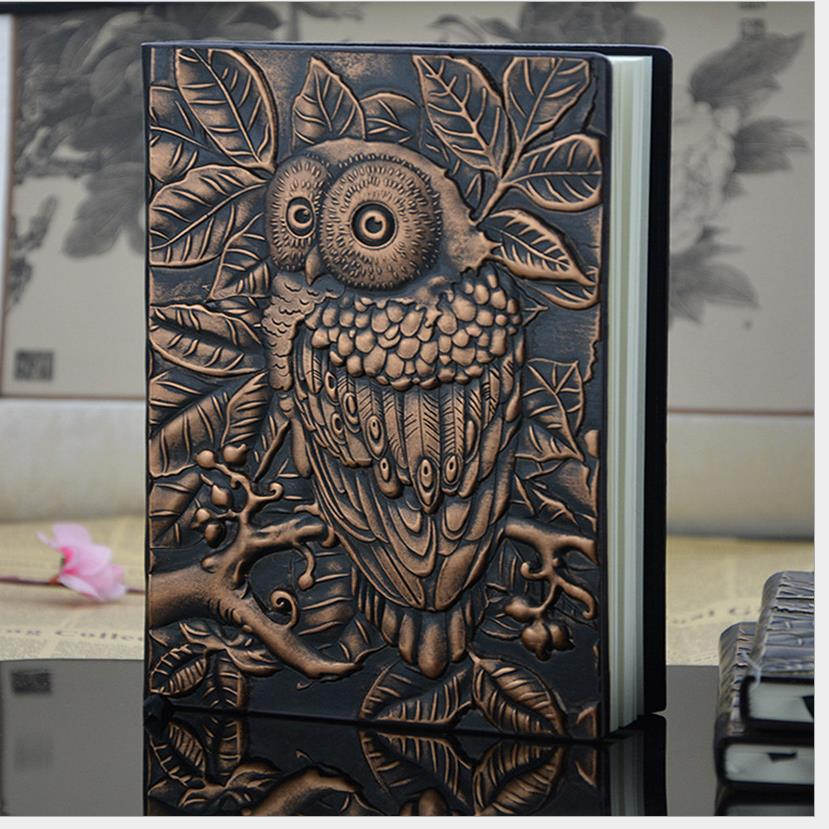 2016 New European Vintage Thick notebook Diary Book Handmade leather carving owl Stationery Office Material School Supplies 1499(China (Mainland))