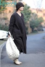 LinenAll clothing Women's 100% cotton jacquard black V-neck loose medium-long cotton-padded wadded cotton dress female YIJIU(China (Mainland))