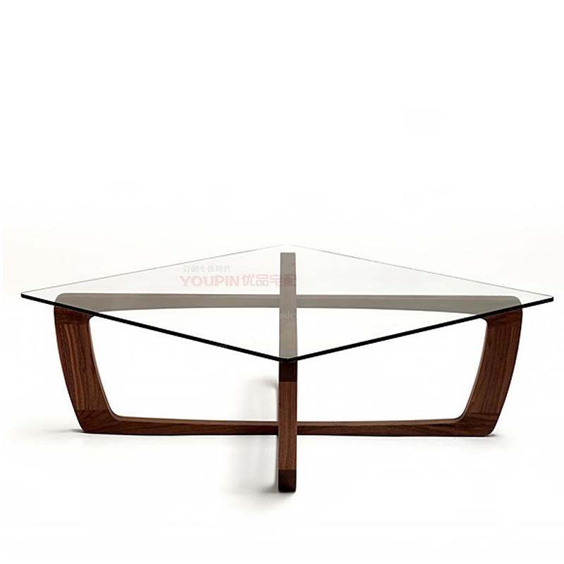 American Black Walnut Wood Frame Square Glass Coffee Tables Modern Minimalist Scandinavian Style