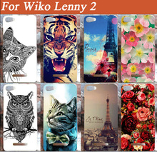 High Quality case for Wiko Lenny 2 painted case Cat Lion Rose Flower Painting case For Wiko Lenny 2 New Fashion Phone Back Cover