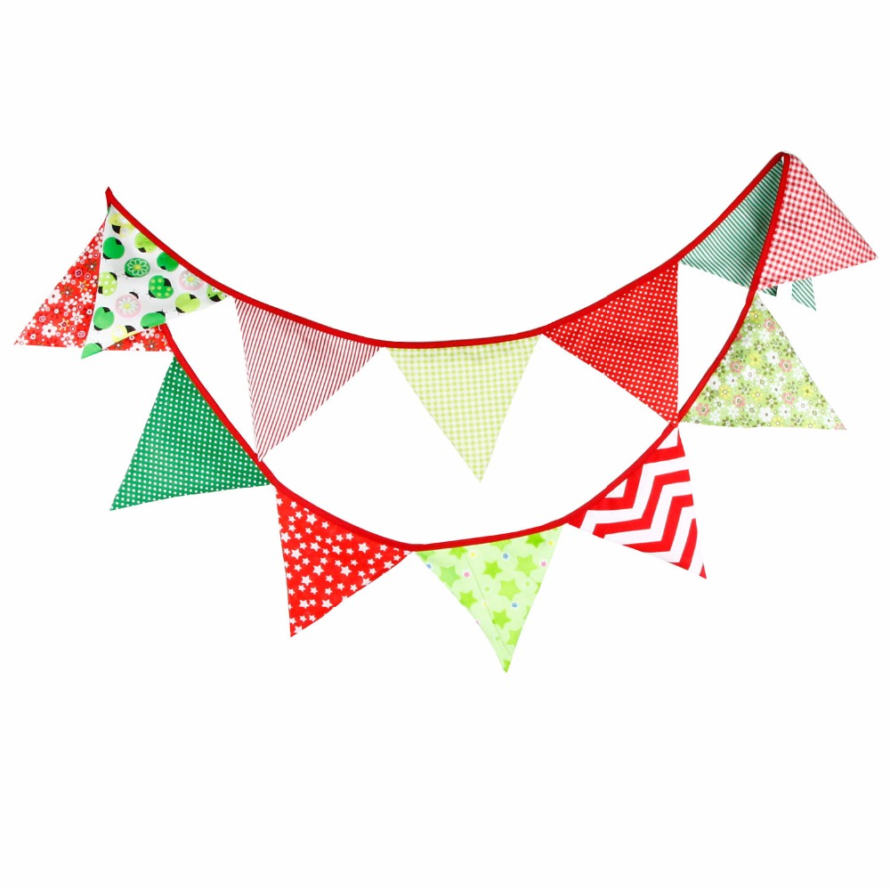 12 Flags 3.2m Multi Colors Cotton Fabric Banners Personality Wedding Bunting Flags Pink Vintage Party Baby Show Garland Decor(China (Mainland))