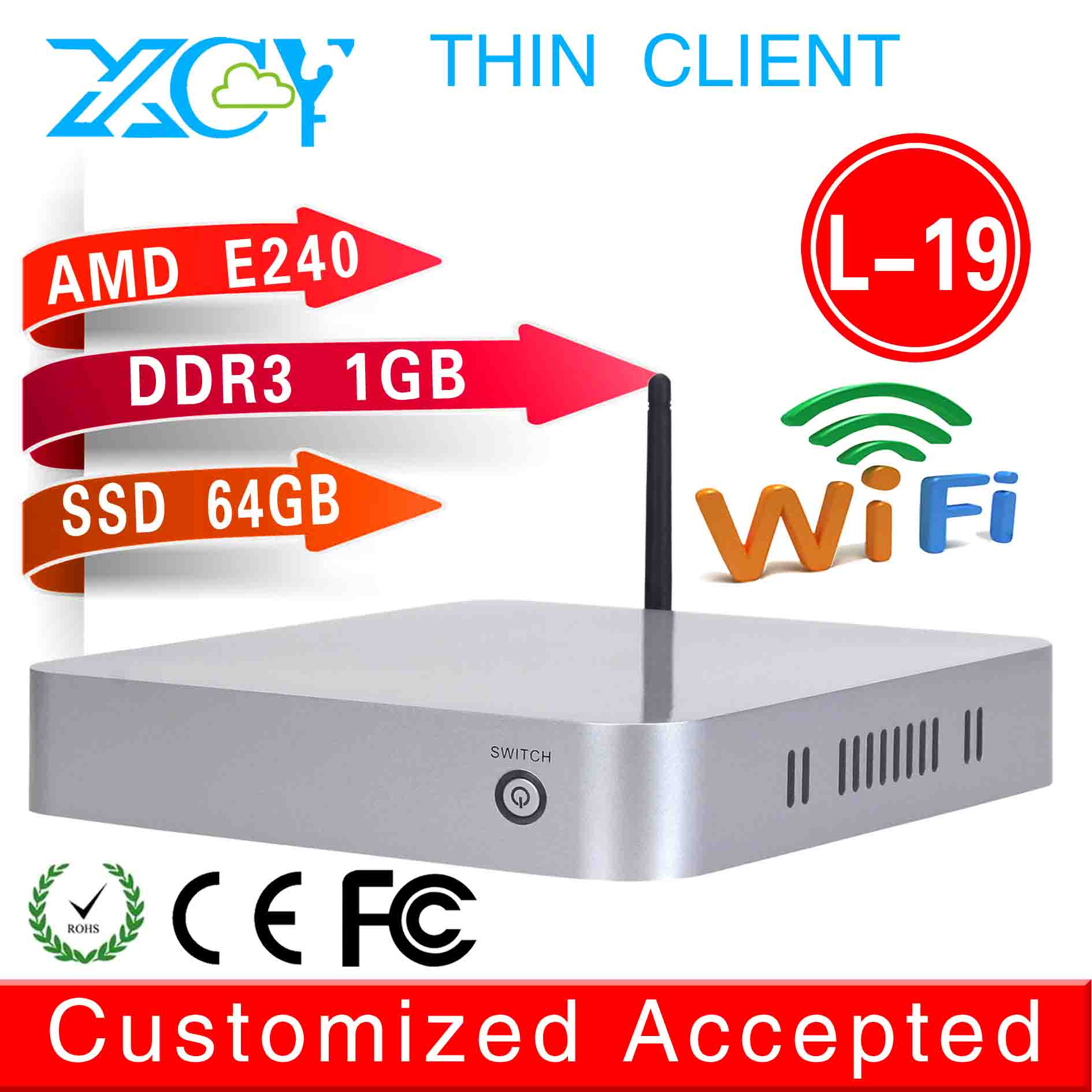 XCY Linux Micro PC Linux Mini Server Mini media player L-19 E240 1G RAM 64G SSD Support Linux OS Ubuntu with Good Performance(China (Mainland))