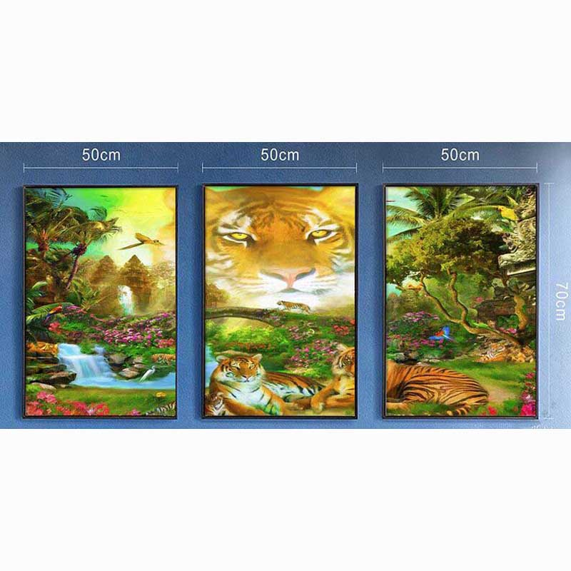 Needlework 5D Diy Diamond Painting Cross Stitch tiger Diamond Embroidery animal Triptych Crystal square mosaic Pictures(China (Mainland))