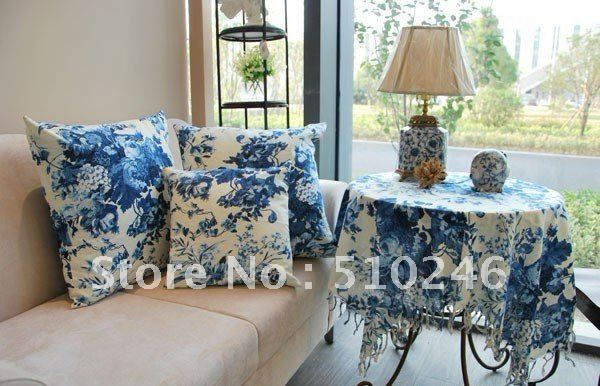 best selling 140*140cm cotton linen blue flower printed home decoration hometextile desk table linen table cover tablecloth(China (Mainland))
