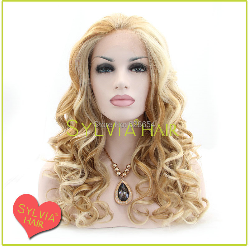 New 2014 loose wave mix blonde heat resistant front lace wig <br><br>Aliexpress