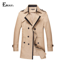 Double Breasted Mens Trench Coat Plus Size M-5XL Outdoor Winter Long Trench Coat Men Cloak Black/Dark Blue/Khaki C1955(China (Mainland))