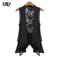 Plus Size Long Chiffon Vest 2016 New Fashion Summer Style Chiffon Sleeveless Lace Waistcoat Women Tops Black/White S-XL/2XL/3XL(China (Mainland))