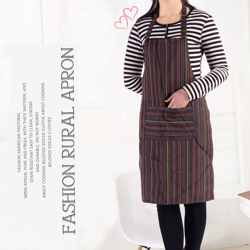 1 pc Free Shipping Adult Stripe Bib Apron with Pockets Chef Cook Tool Waiter Suite Kitchen supplies NG4S(China (Mainland))