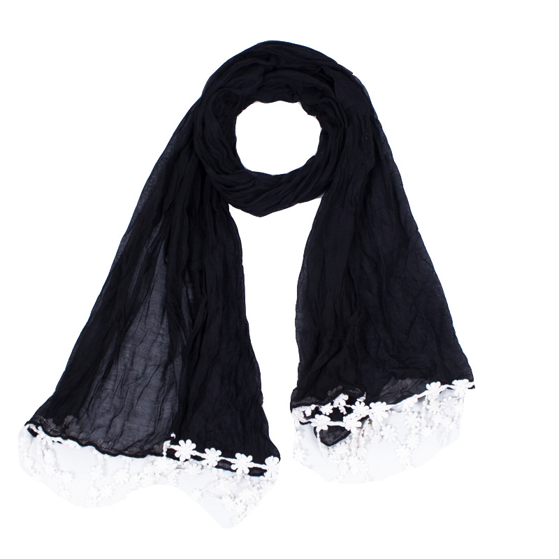 Concise Design With Voile Black/Light Pruple/White Women Scarf Around With White Lace Shawls Size180*70cm No.11002(China (Mainland))